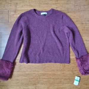 Planet Gold Fuzzy Burgundy Long Sleeve Sweater